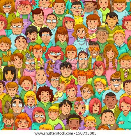 seamless pattern with cartoon people - stock photo