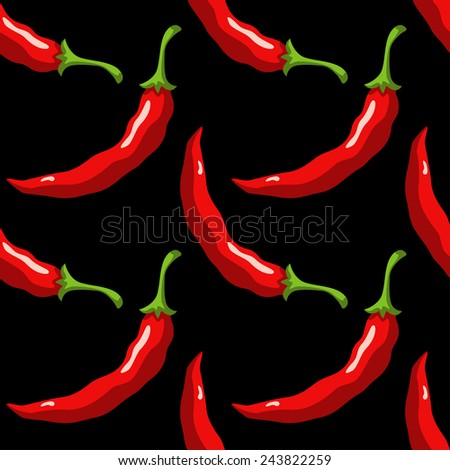 Seamless pattern with cartoon red hot chili peppers on a black background - stock photo