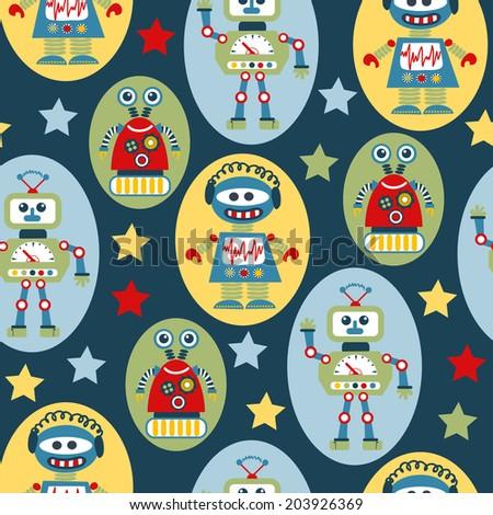 seamless pattern with cartoon robots - stock photo