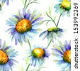 Seamless pattern with Chamomile flowers, watercolor flowers - stock vector