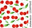 Seamless pattern with cherries. - stock photo