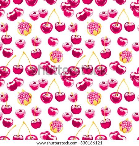 seamless pattern with cherries. Raster version - stock photo