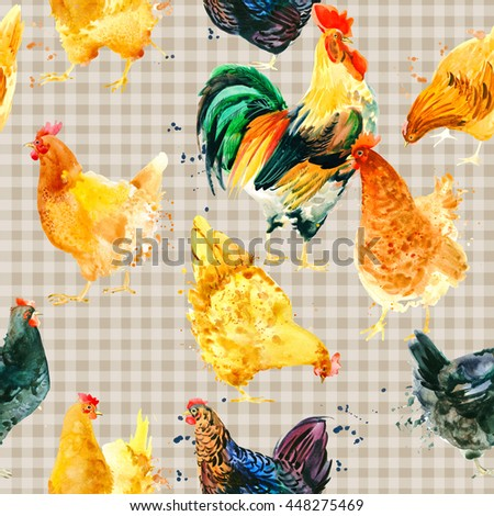 Seamless pattern with Chicken and Rooster. Chicken and Rooster watercolor illustration  - stock photo