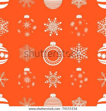 seamless pattern with christmas balls and snowflakes. Similar image in vector format  in my portfolio. - stock photo