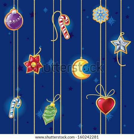seamless pattern with Christmas decorations - stock photo