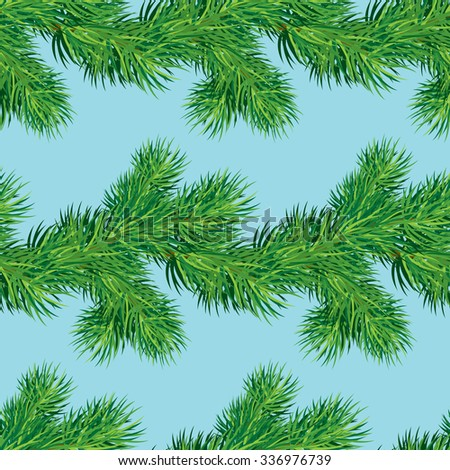 Seamless pattern with Christmas fir tree branch, winter holiday background. Raster version