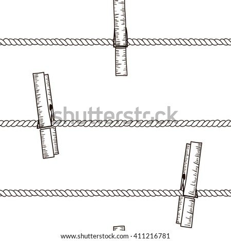 Seamless pattern with clothespins on rope. Black and white hand drawn texture.  Perfect background for fabric, packaging, textile or other surfaces - stock photo