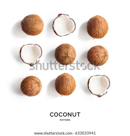 Seamless pattern with coconut. Tropical abstract background. Coconut on the white background. Top view.