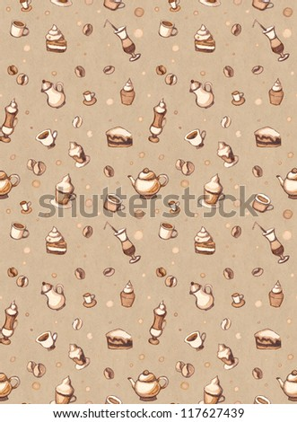 Seamless pattern with coffee, cakes, cups, teapots - stock photo