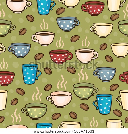 Seamless pattern with coffee cups - stock photo