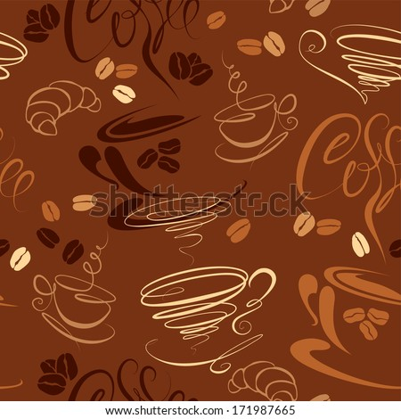 Seamless pattern with coffee cups, beans, croissant, calligraphic text COFFEE. Background design for cafe or restaurant menu. Raster version - stock photo