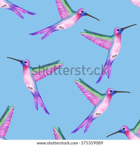 Seamless pattern with colibri at blue background