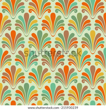 Seamless pattern with color shells. Abstract decorative illustration for print, web