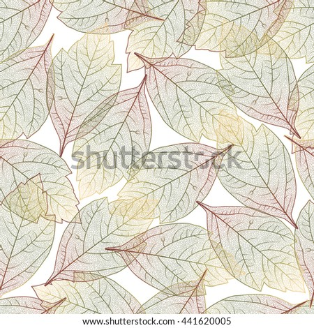 Seamless pattern with colored autumn leaves.