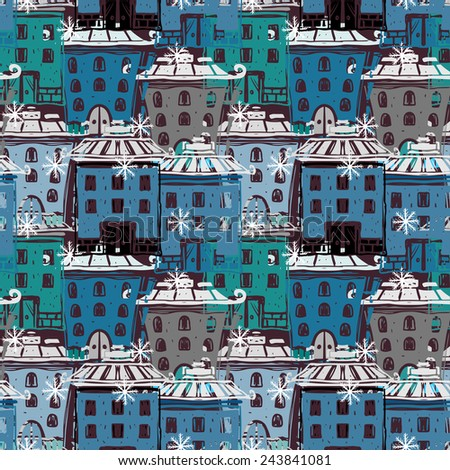 Seamless pattern with colorful cartoon houses. Abstract urban hand drawn ornament. Repeating background texture. Cloth design. Wallpaper  - stock photo