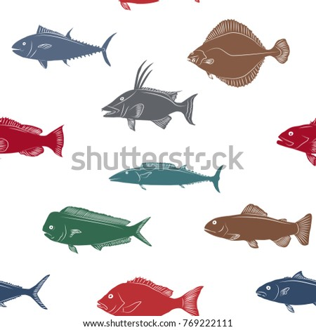 Seamless pattern with colorful fish silhouettes on a white background.