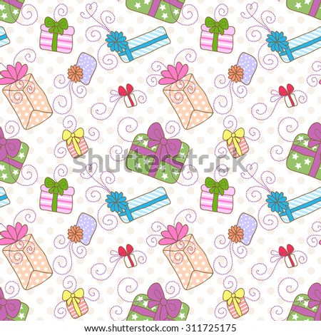 Seamless pattern with colorful gift boxes with bows