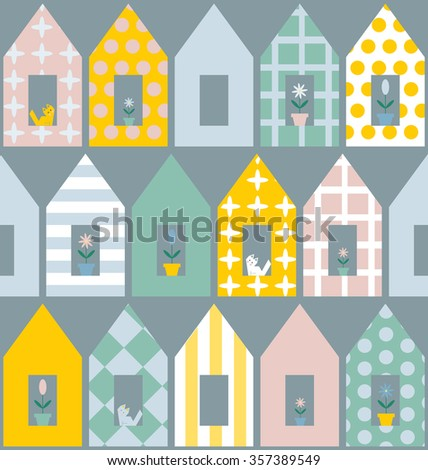 Seamless  pattern with colorful houses . For cards, invitations, wedding or baby shower albums, backgrounds, arts and scrapbooks. Raster version. - stock photo