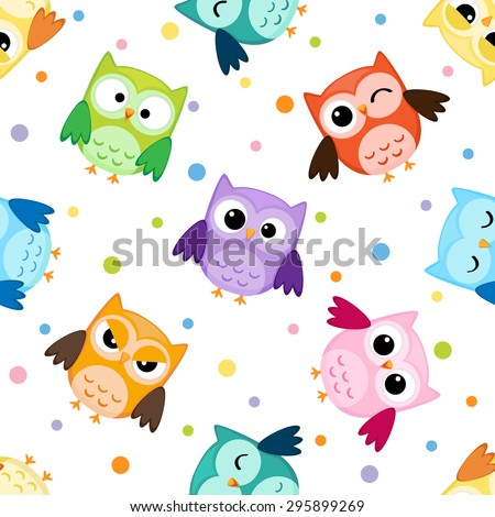 Seamless pattern with colorful owls. Raster version