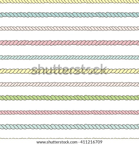 Seamless pattern with colorful ropes. Perfect background for fabric, packaging, textile or other surfaces - stock photo