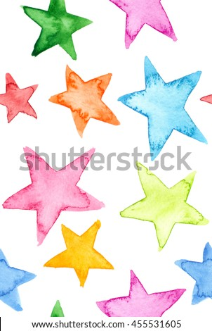 Seamless pattern with colorful stars painted in watercolor on white isolated background