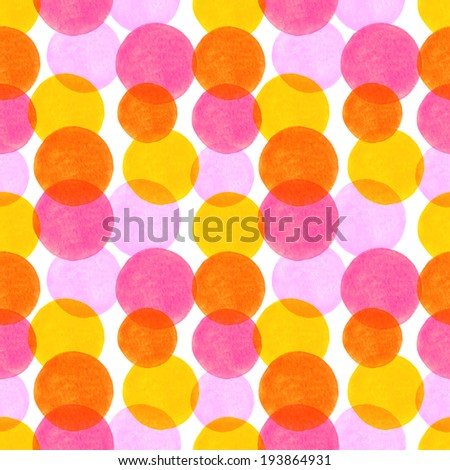 Seamless pattern with colorful watercolor circle elements. Bright abstract background - stock photo