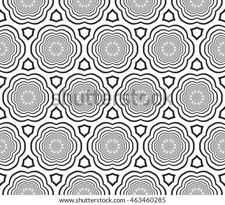 Seamless pattern with concentric circles. mirror illustration. For the interior design, printing, wallpaper, textile industry.