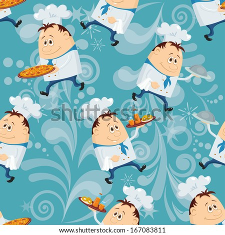 Seamless pattern with cooks with dishes, cartoon characters on blue abstract background - stock photo