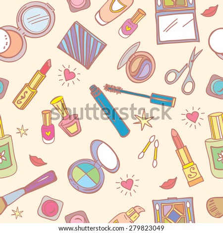 Seamless pattern with cosmetics, beauty accessories, hearts and smiles. Vector illustration