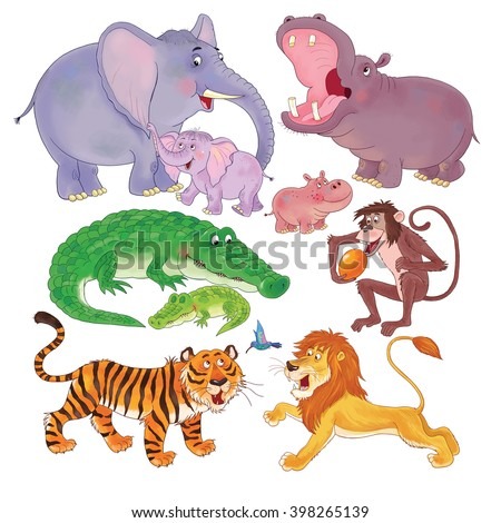 Seamless pattern with cute African animals. Wallpaper. Cute elephant, hippo, crocodile, monkey, tiger and lion. Illustration for children. Cartoon characters isolated on white background. - stock photo