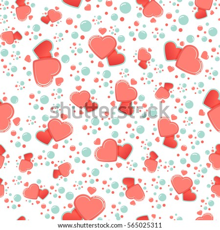 Seamless pattern cute chic hearts on stock vector for Cute paper designs