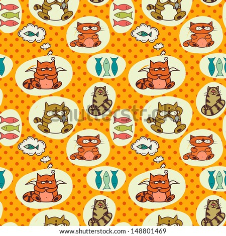 Seamless pattern with cute colorful cartoon cats. Hand drawn childish background. - stock photo