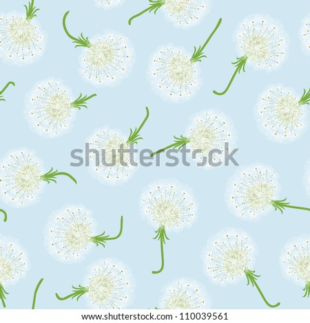 Seamless pattern with dandelions and seeds flying - stock photo