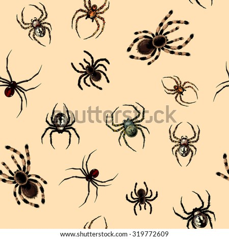 Seamless pattern with dangerous realistic spiders (raster version) - stock photo