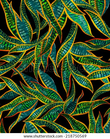 seamless pattern with dark jungle foliage on black - stock photo