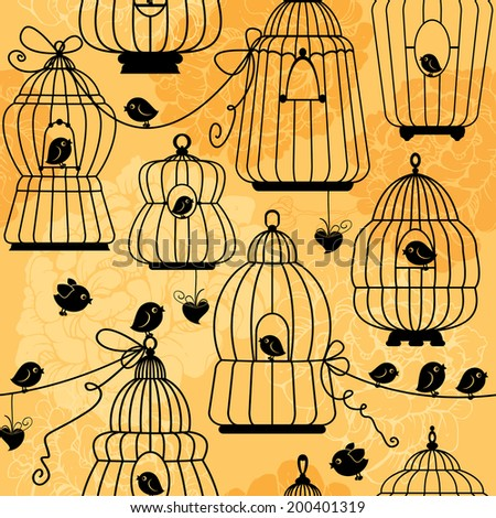seamless pattern with decorative bird cage Silhouettes on floral background. Ready to use as swatch.  Raster version - stock photo