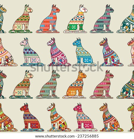 Seamless pattern with decorative cats - stock photo