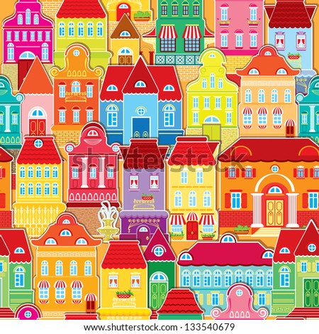 Seamless pattern with decorative colorful houses.  City endless background. Raster version