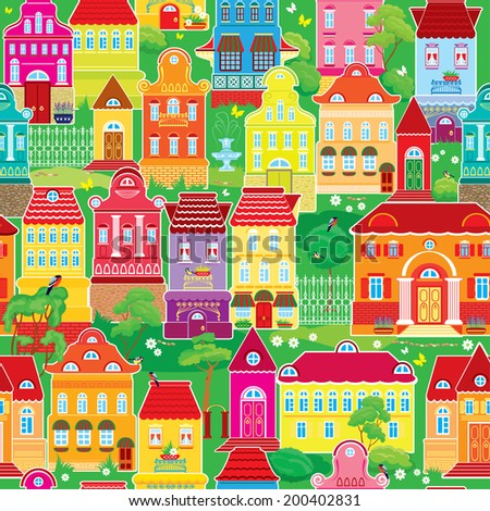 Seamless pattern with decorative colorful houses, spring or summer season. City endless background. Ready to use as swatch.  Raster version