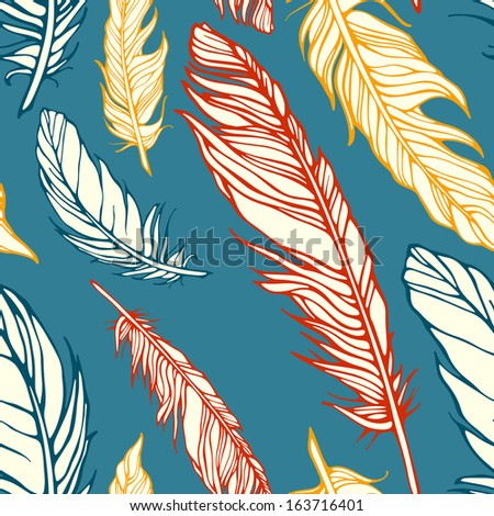 Seamless pattern with decorative feathers. Template for your design  - stock photo