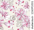 Seamless pattern with decorative  pink flowers on grey background. - stock vector