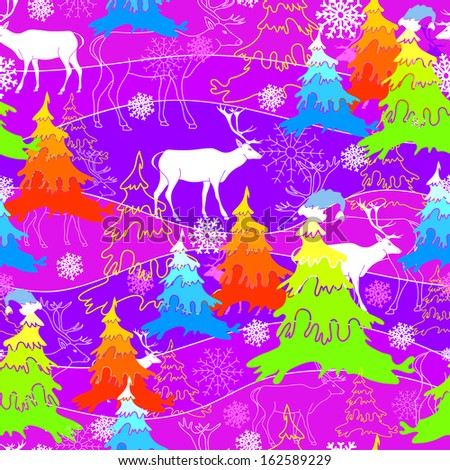 Seamless pattern with deer and Christmas tree