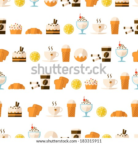 Seamless pattern with dessert and drinks - stock photo