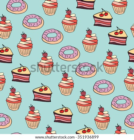 Seamless pattern with desserts. Hand drawn doodle black and white ink illustration for design, background, banner, cards, invitations.