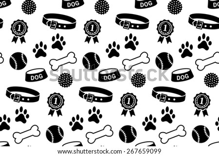 Seamless pattern with dog's stuff. Collar, bowl, balls, bones, paw prints and the reward - stock photo