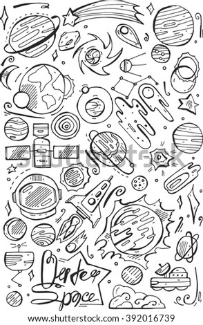 Seamless pattern with doodle space elements. Illustration with hand drawn doodle space elements for wallpaper, wrapping, textile prints,books,school. - stock photo