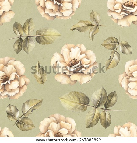 Seamless pattern with drawings of rose flowers - stock photo