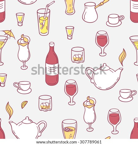 Seamless pattern with drinks. Hand drawn background with beverages for design. Doodle illustration