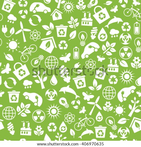 Seamless pattern with Eco Icons in flat style. Ecology, Nature, Energy, Environment and Recycle Icons. White icons on green background for your design. Raster illustration. - stock photo
