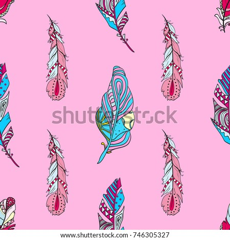 Abstract Geometric Wallpaper Feather Design Zentangle Hand Drawn